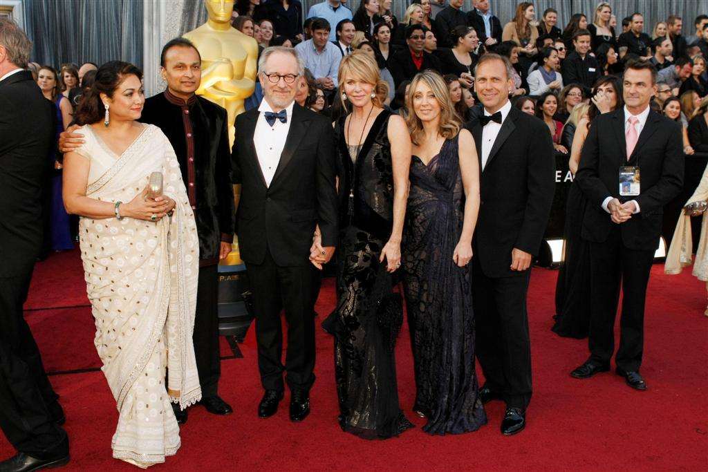 Tina and Anil Ambani, Steven Spielberg and wife Kate Capshaw, Stacey Snider and husband Gary Jones