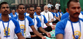 On Yoga Day with Prime Minister Modi of India