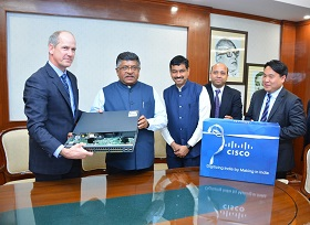 Ravi Shankar Prasad Receiving Made in India Router from Cisco