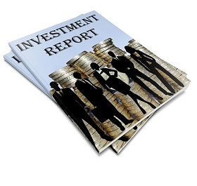 Magazine with Investment Report written on it