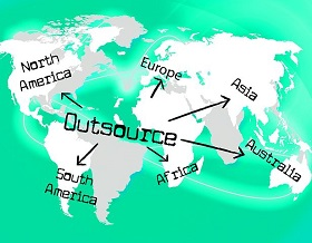 map of the world with 'outsource' written across it