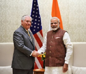 The US Secretary of State, Mr. Rex Tillerson calls on the Prime Minister, Shri Narendra Modi, in New Delhi on October 25, 2017.
