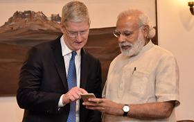 Picture of PM Modi and Tim Cook
