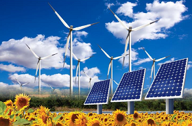 Image of wind turbines and solar panels