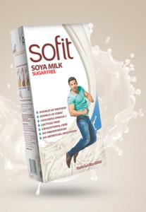 A tetrapack of Sofit soya milk