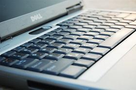 An open dell laptop