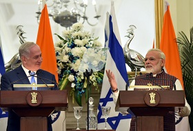 The Prime Minister, Shri Narendra Modi and the Prime Minister of Israel, Mr. Benjamin Netanyahu during Press Statement, at Metanyahu and Modi at Hyderabad House, in New Delhi on January 15, 2018.